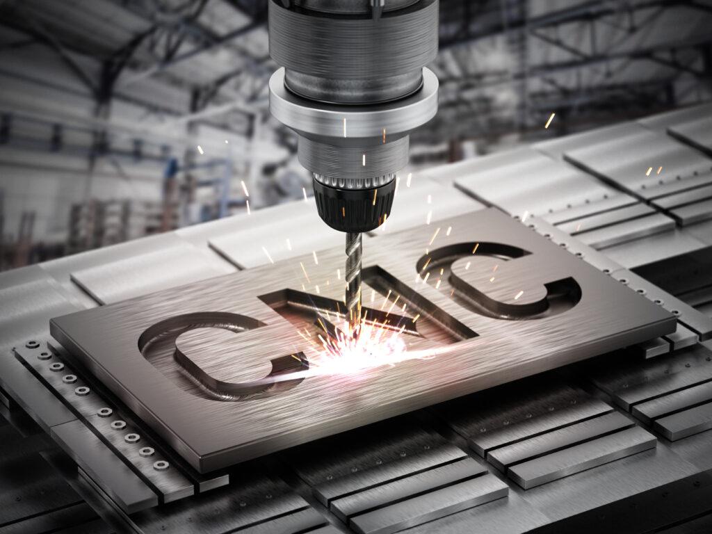 Closeup of generic CNC drill equipment. 3D illustration.